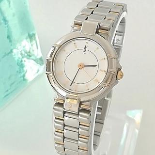 サンローラン(Saint Laurent)の綺麗 サンローラン 3針 ローマン 白文字盤 レディース ウォッチ 腕時計 美品(腕時計)