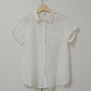 ジーユー(GU)のGU レディース シャツ ブラウス 半袖 Lサイズ 白(シャツ/ブラウス(半袖/袖なし))