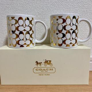 コーチ(COACH)の☆新品☆ COACH ペアマグカップ 白×ゴールド(グラス/カップ)