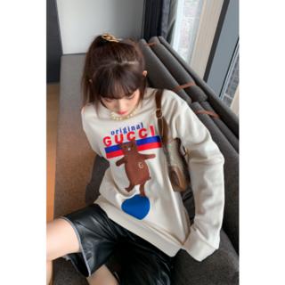 グッチ(Gucci)のGUCCI  ロゴ 刺繍熊 スウェットシャツ トレーナーL男女兼用(トレーナー/スウェット)