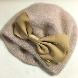 トッカ(TOCCA)のトッカ TOOCA アンゴラベレー帽 リボン ベージュ(ハンチング/ベレー帽)