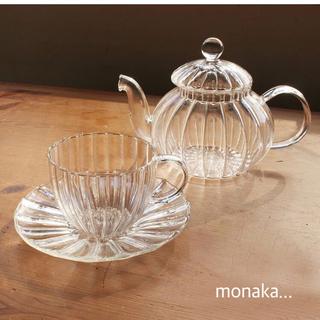 ムジルシリョウヒン(MUJI (無印良品))のガラスのティーポット&カップアンドソーサー(食器)