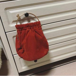リリーブラウン(Lily Brown)のlily brown リリーブラウン オレンジ巾着がま口バッグ(ハンドバッグ)