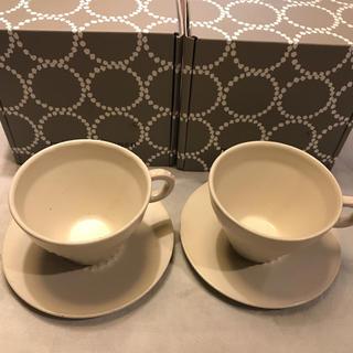 ミナペルホネン(mina perhonen)のミナペルホネン カップ&ソーサー タンバリン ホワイト 2客(食器)