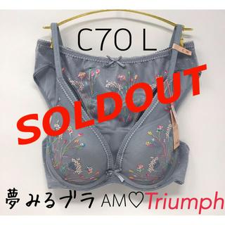 アモスタイル(AMO'S STYLE)のC70L◎夢みるブラ Deep V トリンプ◎アモスタイル ブラ&ショーツ(ブラ&ショーツセット)