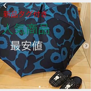 マリメッコ(marimekko)の新品タグ付き マリメッコ 折りたたみ傘 ピエニウニッコ ブルー×ダークブルー新作(傘)