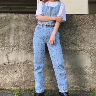 エックスガール(X-girl)のX-girl 花柄 刺繍 デニム・ビスチェセット セットアップ(デニム/ジーンズ)