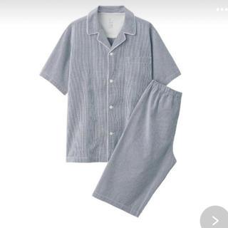 ムジルシリョウヒン(MUJI (無印良品))の無印良品脇に縫い目のない サッカー織り半袖パジャマ 紳士M・ネイビー×チェック (その他)