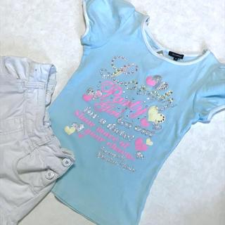 オリンカリ(OLLINKARI)のビジューがとてもかわいいOLLNKARIの夏Tシャツ。(Tシャツ/カットソー)