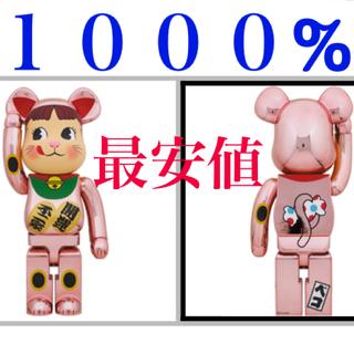 メディコムトイ(MEDICOM TOY)のBE@RBRICK 招き猫 ペコちゃん 桃金メッキ 1000%(キャラクターグッズ)