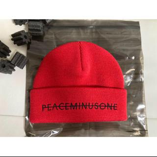 ピースマイナスワン(PEACEMINUSONE)のPEACEMINUSONE ニット帽 レッド (ニット帽/ビーニー)