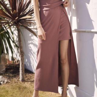 アリシアスタン(ALEXIA STAM)のリブレイヤードスカート(ロングスカート)