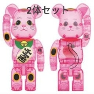 メディコムトイ(MEDICOM TOY)のBE@RBRICK 招き猫 桃色透明 400% ベアブリック(その他)