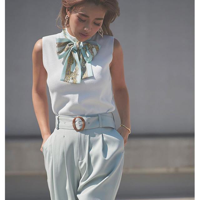 eimy istoire(エイミーイストワール)のeimy istoire ❁ スカーフデザイン ノースリ ニットプルオーバー レディースのトップス(タンクトップ)の商品写真