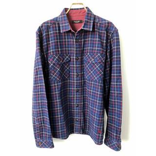 バーバリーブラックレーベル(BURBERRY BLACK LABEL)のバーバリーブラックレーベル ホース刺繍 チェック ネルシャツ 3 ネイビー(シャツ)