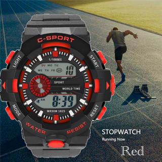 スポーツ腕時計 LED デジタル 腕時計 ミリタリー 耐久性 スポーツ レッド(腕時計(デジタル))