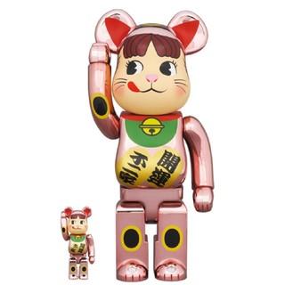 フジヤ(不二家)のBE@RBRICK 招き猫 ペコちゃん 桃金メッキ 100% & 400%(キャラクターグッズ)