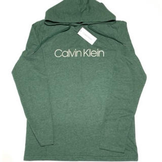 カルバンクライン(Calvin Klein)の【新品】海外限定 CALVIN KLEIN パーカー グリーン ロゴ入り(パーカー)