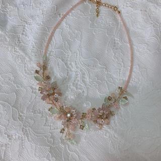 トゥモローランド(TOMORROWLAND)のフラワー ネックレス 花柄 ピンク 清楚 (ネックレス)