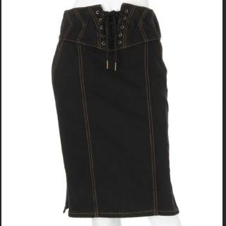 イートミー(EATME)のEATME イートミー Backzipレースアップデニムスカート(ひざ丈スカート)