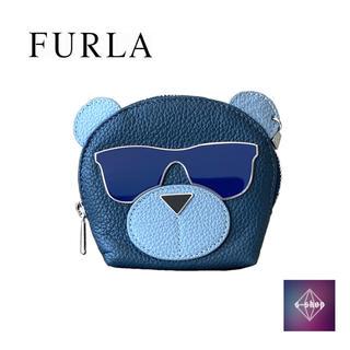 フルラ(Furla)の 【美品】 FURLA フルラ クマフラージュ キーコインケース レザー ブルー(コインケース/小銭入れ)