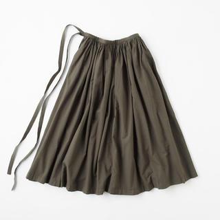 イデー(IDEE)のIDEE POOL 巻きギャザーエプロン チャコール 巻きスカート 無印良品(ロングスカート)