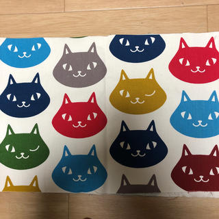 藤久 猫柄帆布 90センチ幅×約30センチ(生地/糸)