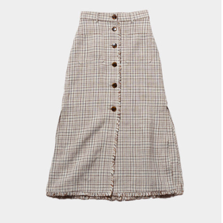 フィーニー(PHEENY)のPHEENY  Linen check long skirt(ロングスカート)