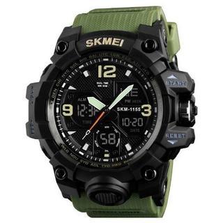 SKMEI アナログ・デジタルスポーツウォッチ②(アーミーグリーン)(腕時計(デジタル))