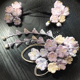 つまみ細工 髪飾り 夜桜(ヘアアクセサリー)