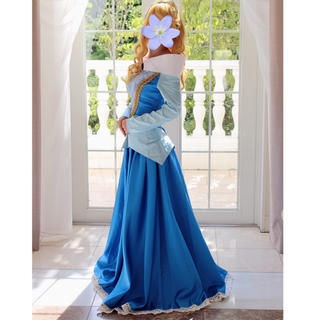 ディズニー(Disney)の眠れる森の美女 オーロラ姫 ブルードレス+ウィッグ、ティアラ(ロングドレス)
