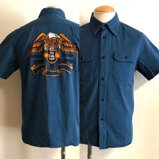 キャリー(CALEE)のCALEE キャリー イーグル刺繍 ワークシャツ M ブルー xpv(シャツ)