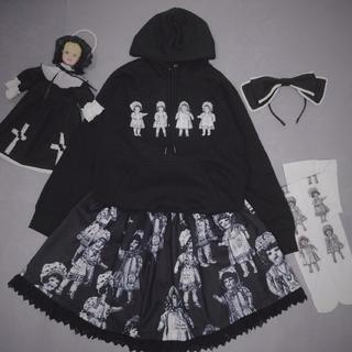 ベイビーザスターズシャインブライト(BABY,THE STARS SHINE BRIGHT)のゴッシク ロリータ DOLLS PARTY 骨董人形 黒白 スカート(ひざ丈スカート)
