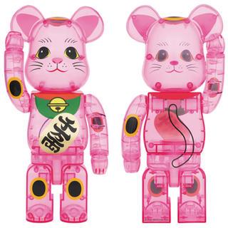 メディコムトイ(MEDICOM TOY)の2体セット☆ BE@RBRICK 招き猫 桃色透明 400% ベアブリック(その他)