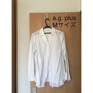 エージープラス(a.g.plus)のa.g. plus エージープラス レディース 白 ブラウス 長袖シャツ M(シャツ/ブラウス(長袖/七分))