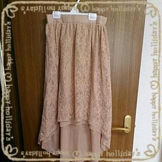 ジーユー(GU)のピンクベーシュレーステールスカート(ロングスカート)