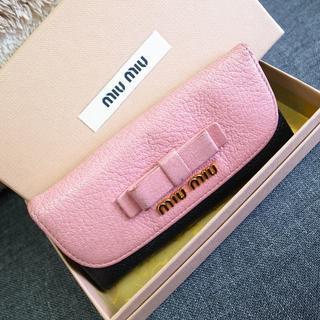 ミュウミュウ(miumiu)の正規品☆ミュウミュウ キーケース ピンク バイカラー リボン バッグ 財布 小物(キーケース)