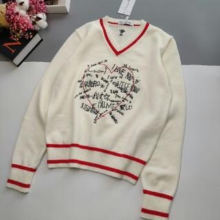 ディオール(Dior)のI love you  の ロゴレディースVネックセーター(ニット/セーター)