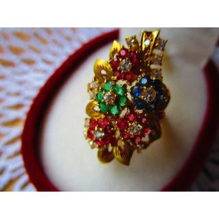 K18 マルチカラーのお花リング(リング(指輪))