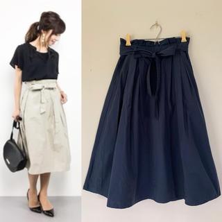 サマンサモスモス(SM2)のSamansa Mos2 綿ナイロンウエストリボンスカート(ひざ丈スカート)