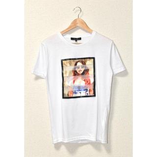 メッシュガールズフォトプリント半袖Tシャツ ホワイト M(Tシャツ/カットソー(半袖/袖なし))