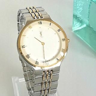 サンローラン(Saint Laurent)の綺麗 サンローラン 白 ローマン ボーイズ レディース 腕時計 ウォッチ 美品(腕時計)