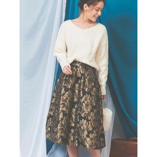 ノエラ(Noela)のノエラ Noela フラワージャガードスカート ゴールド 新品(ひざ丈スカート)