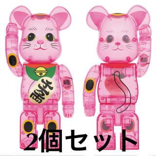 メディコムトイ(MEDICOM TOY)の2個セット 新品未使用 BE@RBRICK 招き猫 桃色透明 400%  (その他)