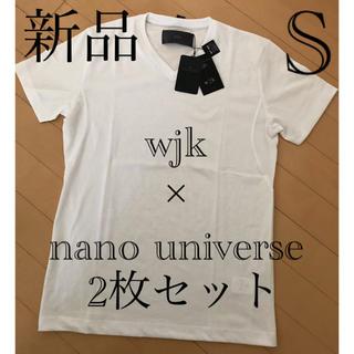 ナノユニバース(nano・universe)のナノユニバース Sサイズ 別注 wjk 1mile Vネック 半袖Tシャツ  白(Tシャツ/カットソー(半袖/袖なし))