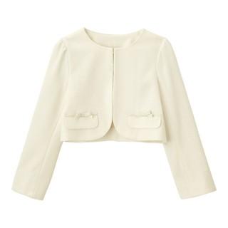 ジーユー(GU)の新品 GU ガールズ ボレロ ノーカラージャケット 140 オフホワイト(ドレス/フォーマル)