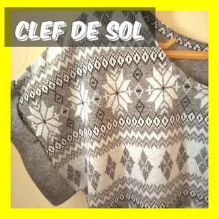 クレドソル(CLEF DE SOL)のCLEF DE SOLクレドソル幾何学模様カットソー半袖Tシャツ幾何学模様柄L(カットソー(半袖/袖なし))