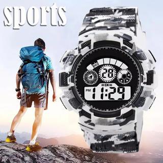 スポーツ腕時計 LED デジタル 腕時計 ミリタリー 耐久性 スポーツ ホワイト(腕時計(デジタル))