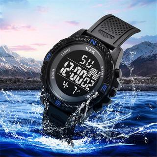 スポーツ腕時計 LED デジタル腕時計 ミリタリー スポーツウォッチ ブルー(腕時計(デジタル))
