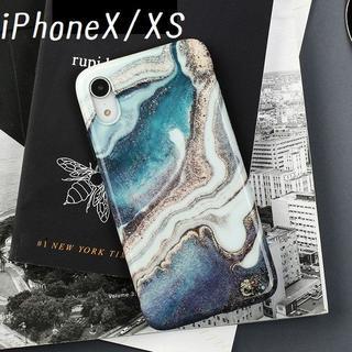 大人気! iPhoneX iPhoneXS ケース カバー マーブル プリント(iPhoneケース)